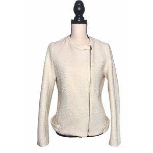 H&M Cream Gold Metallic Tweed Zip Moto Jacket 10
